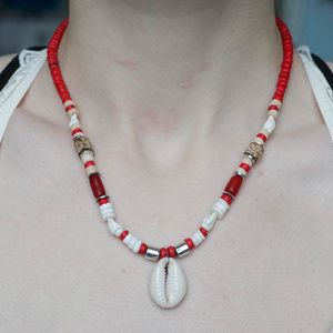 Jewelry - VSCO GIRL style RED and WHITE Seashell Necklace